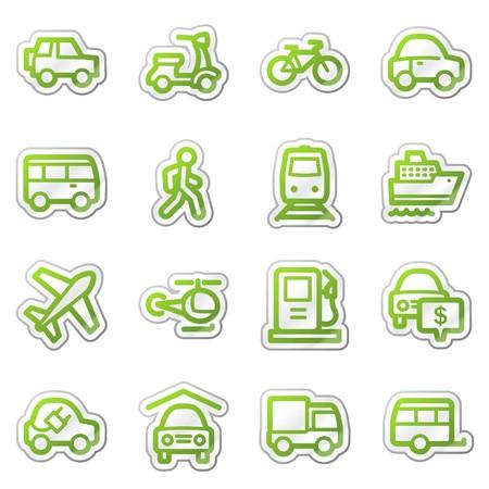 Transport web icons, green sticker series photo