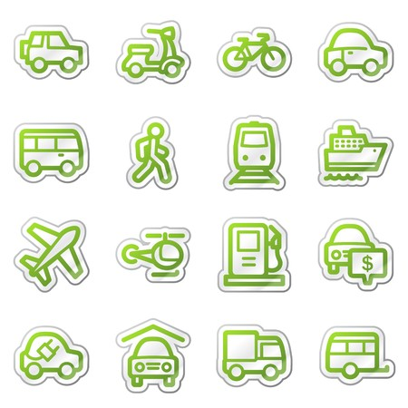 Transport web icons, green sticker series Фото со стока