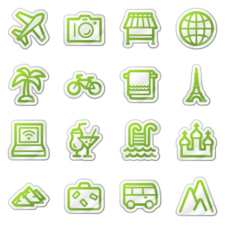 Travel web icons set 1, green contour sticker series photo