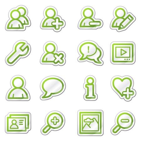 Users web icons, green sticker series Stock Photo - 7749998