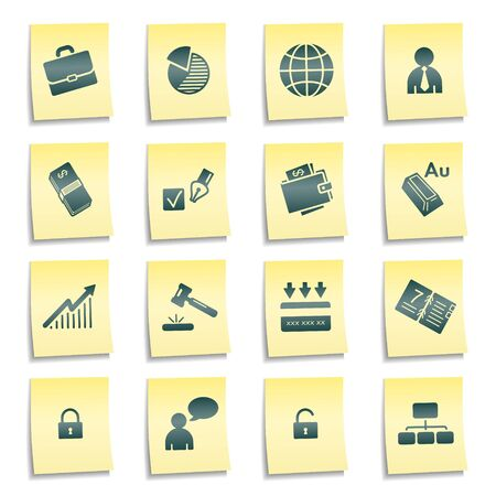 Business web icons, yellow notes stickers Stock Photo - 7750023