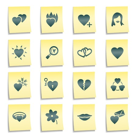 Dating web icons, yellow notes stickers Stock Photo - 7750013