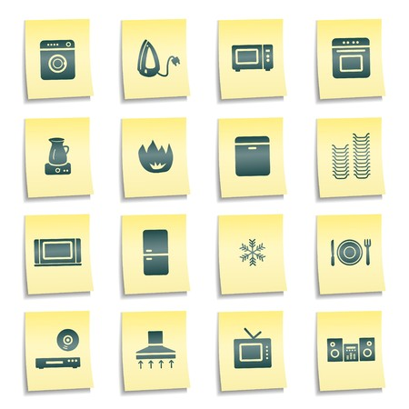 Home appliances web icons, yellow notes stickers Stock Photo - 7750022