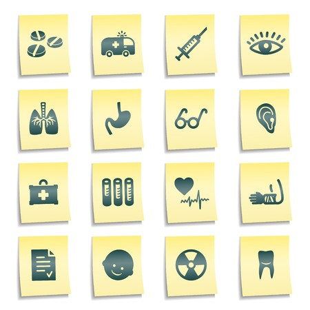 Medicine web icons, yellow notes stickers Stock Photo - 7750018