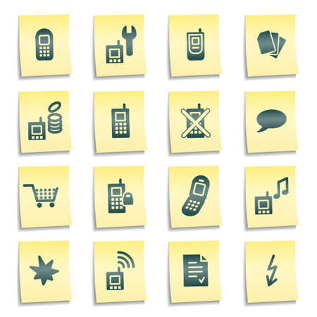 Mobile phones web icons, yellow notes stickers photo
