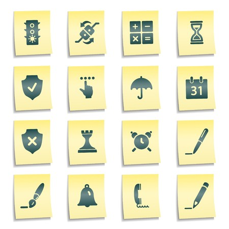 Software web icons, yellow notes stickers photo