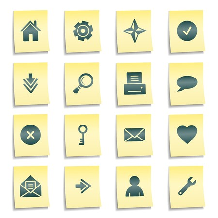 Basic web icons, yellow notes stickers Stock Photo - 7750011