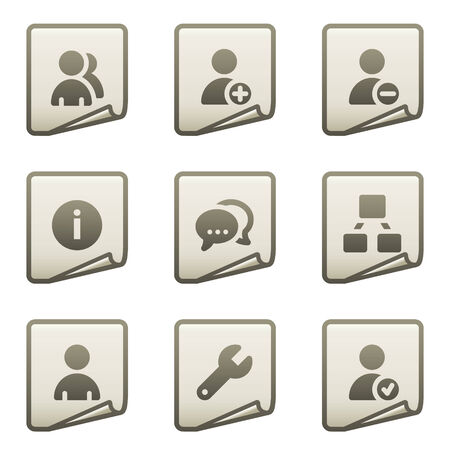 Users web icons, document series Vector