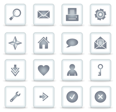 Basic web icons, white square buttons Stock Vector - 7866758