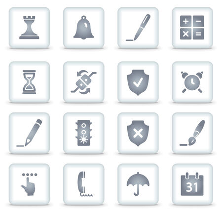 Software  web icons, white square buttons Vector