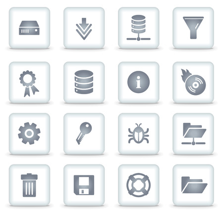 Server   web icons, white square buttons Vector