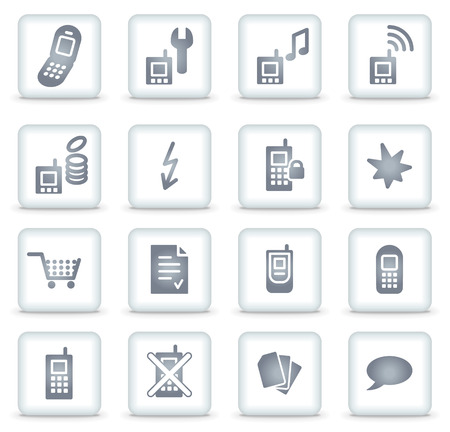 white fund: Mobile phone   web icons, white square buttons