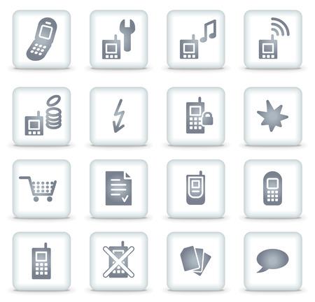 phone money: Tel�fono m�vil web botones cuadrados de iconos, blanco