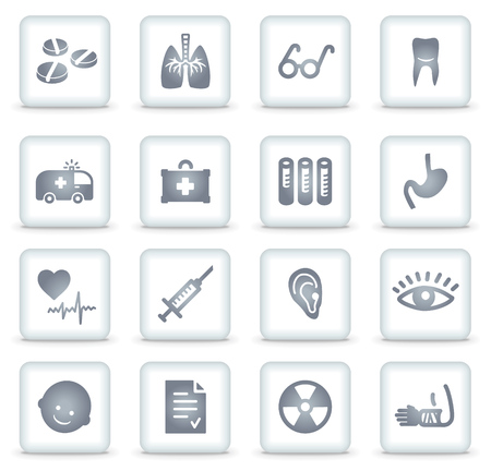 Medicine   web icons, white square buttons Stock Vector - 7866767