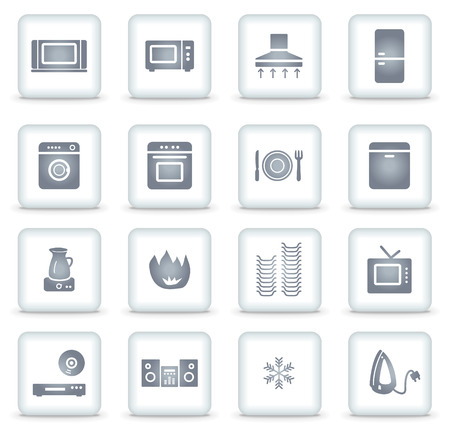 microwave ovens: Home appliances   web icons, white square buttons Illustration