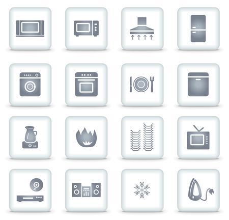 Huishoudelijke apparaten web iconen, witte vierkante knoppen