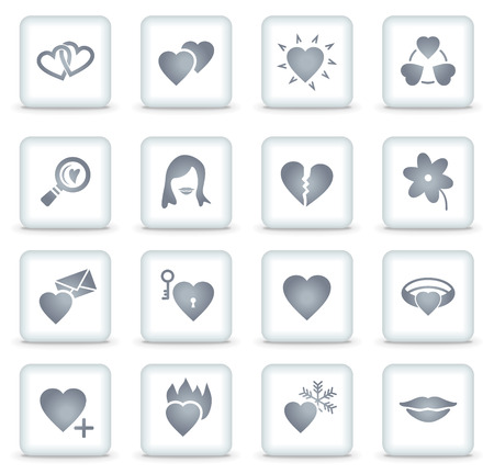Dating   web icons, white square buttons Stock Vector - 7866770