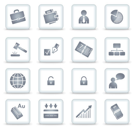 Business   web icons, white square buttons Stock Vector - 7866773
