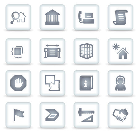 Building web icons, white square buttons Vector