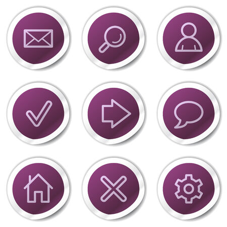 Basic web icons, purple stickers series Vector