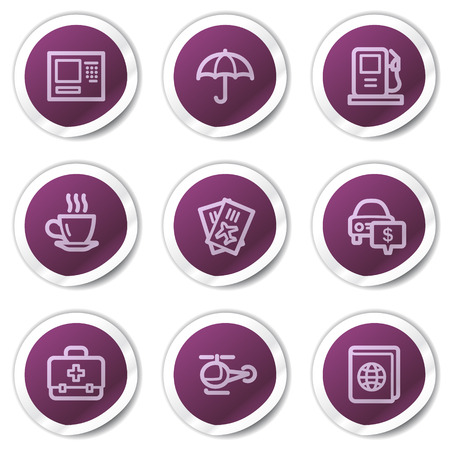 Travel web icons set 4, purple stickers series Vector