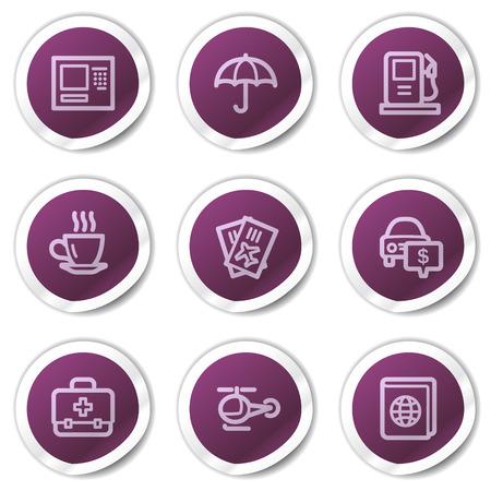 Travel web icons set 4, purple stickers series Vector