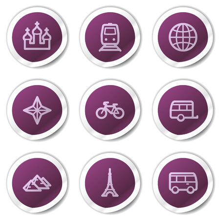 Travel web icons set 2, purple stickers series Vector