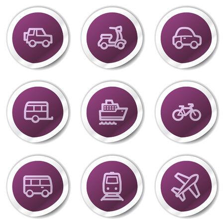 steamship: Vervoer van web icons, paars stickers serie Stock Illustratie