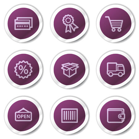 Shopping web icons set 2, purple stickers series Vector