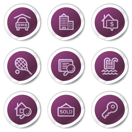 Real estate web icons, purple stickers series Stock Vector - 7866757