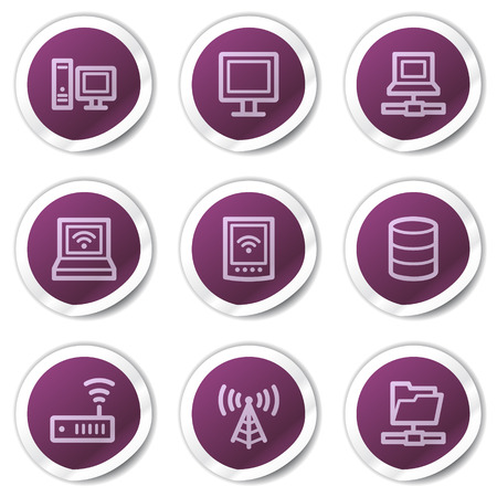 Network web icons, purple stickers series Vector