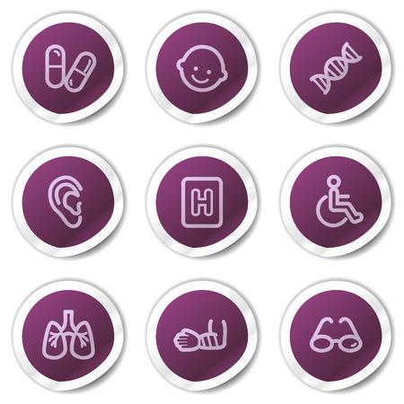 Medicine web icons set 2, purple stickers series Vector