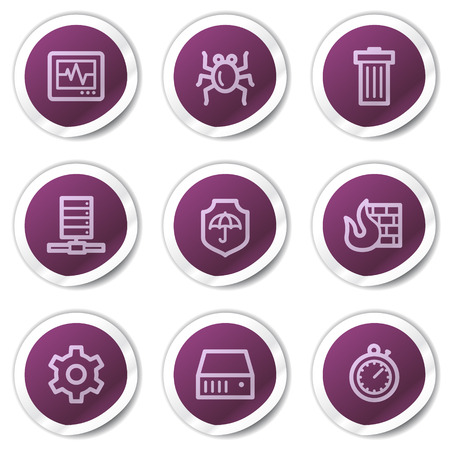 Internet security web icons, purple stickers series Stock Vector - 7866744