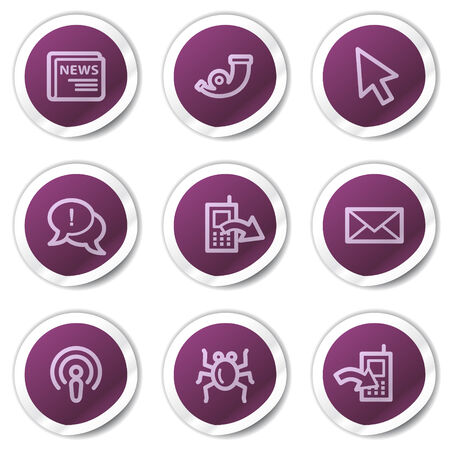 Internet web icons set 2, purple stickers series Stock Vector - 7866712