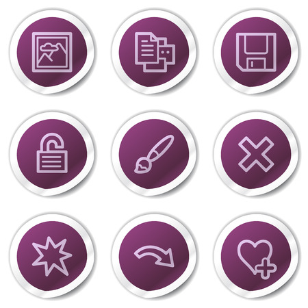 Image viewer web icons set 2, purple stickers series Vector