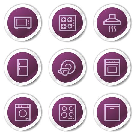 home appliances: Electrodom�sticos web serie de pegatinas de iconos, p�rpura
