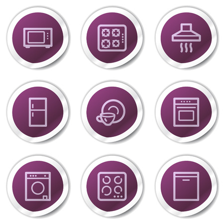 gas laundry: Home appliances web icons, purple stickers series