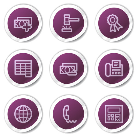 Finance web icons set 2, purple stickers series Vector