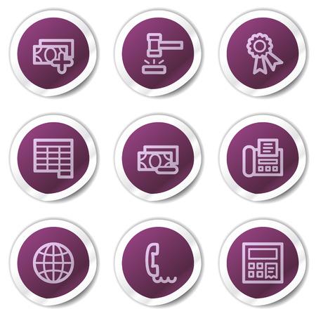 phone money: Financiar el conjunto de iconos de web 2, serie de pegatinas de p�rpura