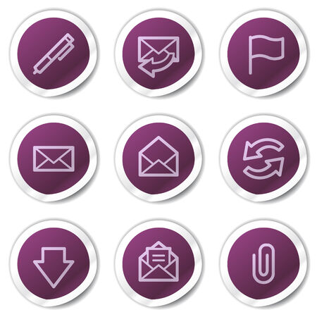 E-mail web icons, purple stickers series Vector