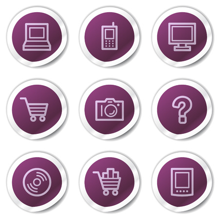 Electronics web icons set 1, purple stickers series Stock Vector - 7866699