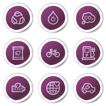 electro world: Ecology web icons set 4, purple stickers series Illustration