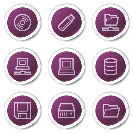 fdd: Drives and storage web icons, purple stickers series