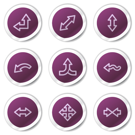 Arrows web icons set 2, purple stickers series Vector