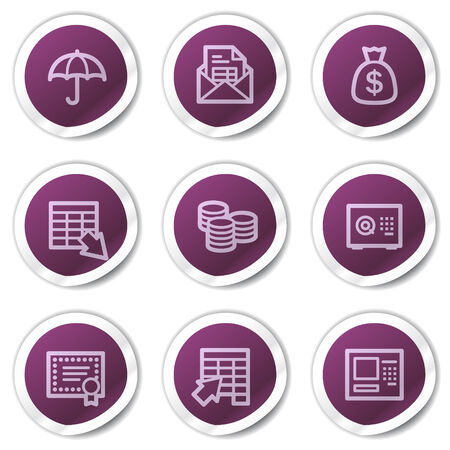 Banking web icons, purple stickers series Vector