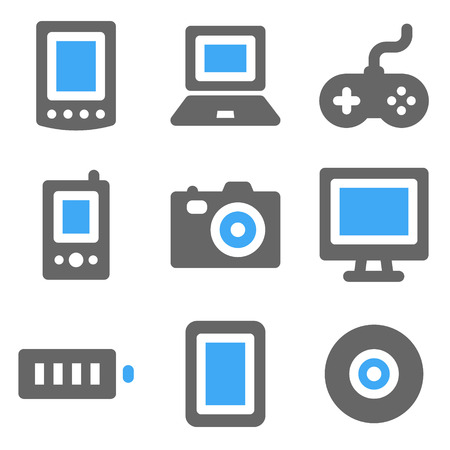 Electronics web icons, blue and grey solid icons