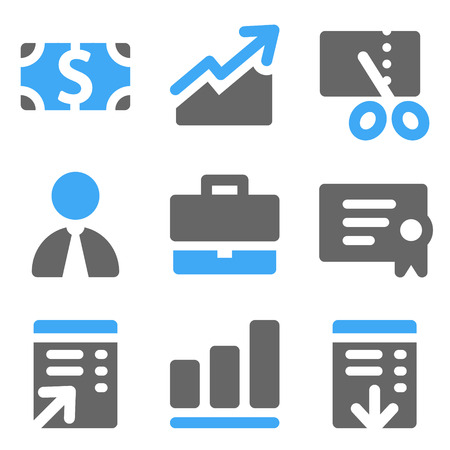Finance web icons, blue and grey solid icons Vector