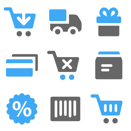 On-line shopping web icons, blue and grey solid icons Иллюстрация
