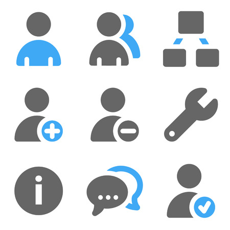 Users web icons, blue and grey solid icons