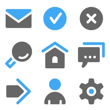Basic web icons, blue and grey solid icons Vector